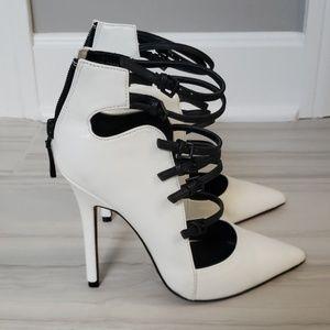 BRAND NEW, Bebe white heels